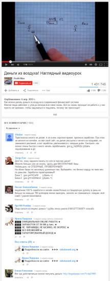 Спамные комментарии на Youtube